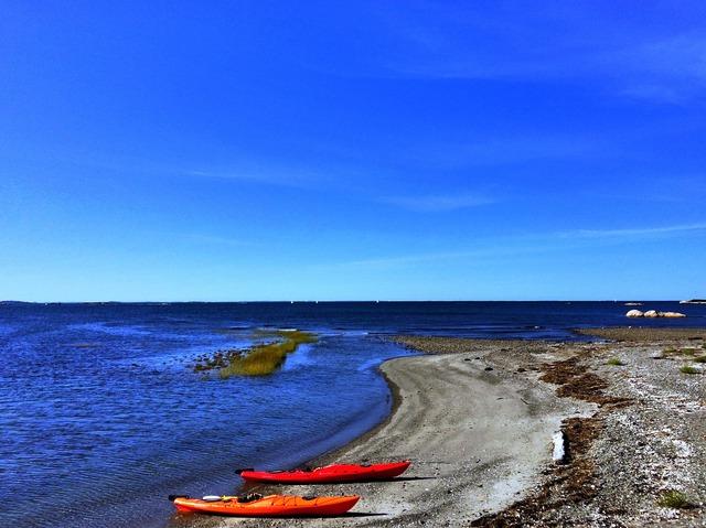 Kayaks beach cohasset, travel vacation.