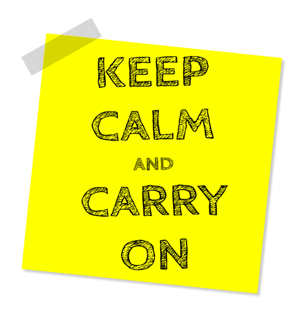Keep calm and carry on message slogan, computer communication.