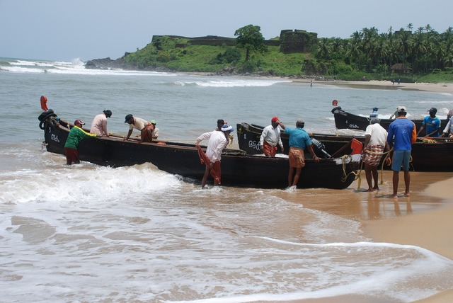 Kerala fishermen boats, travel vacation.