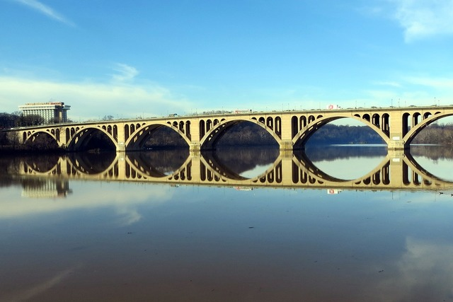Key bridge potomac reflection.