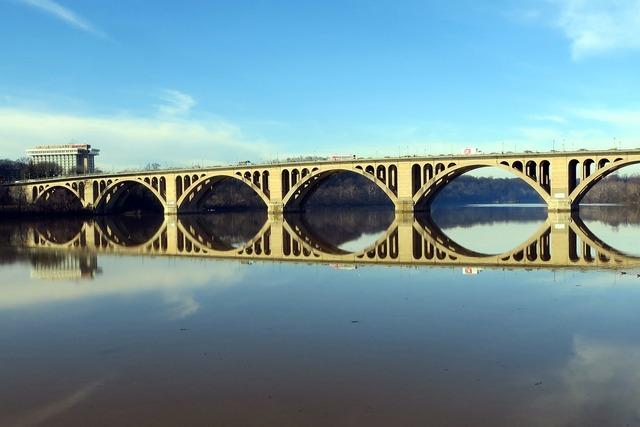 Key bridge potomac reflection.