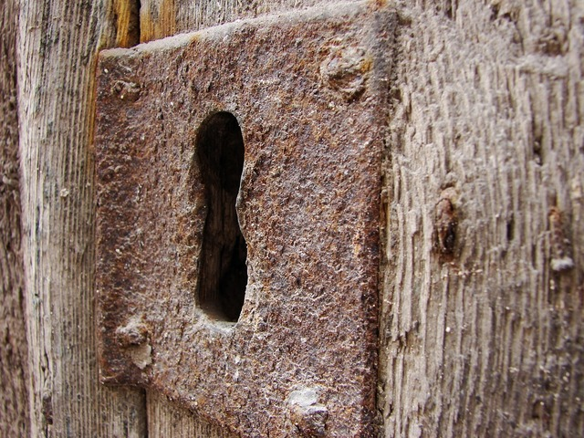 Keyhole old wood old building.