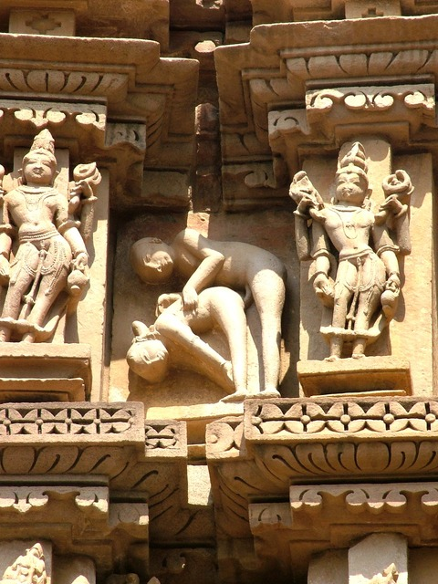 Khajuraho kamasutra india, architecture buildings.