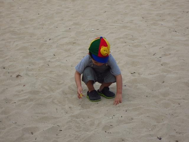 Kid play beach, travel vacation.