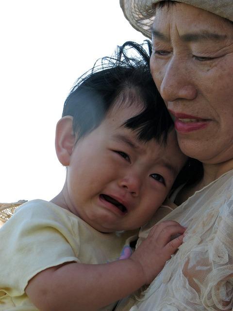Kids cry grandson.