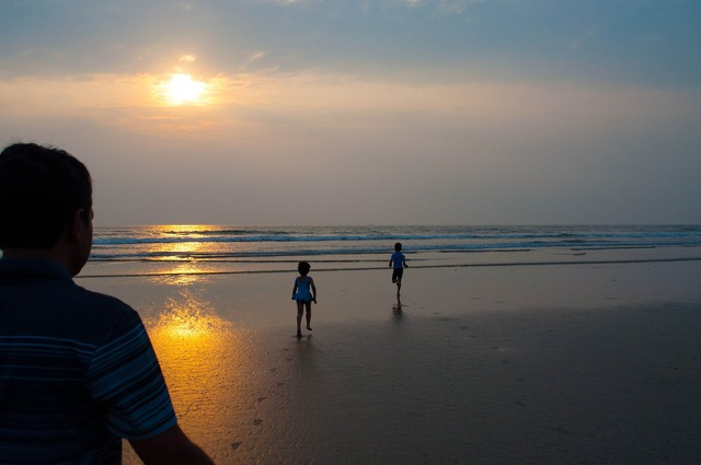 Kids happy beach, emotions.