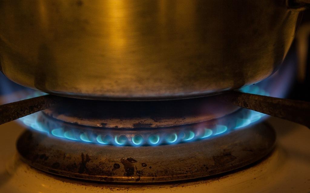Kitchen gas flame.