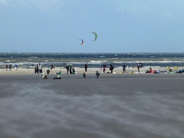 Kiters north sea saint peter ording, travel vacation.