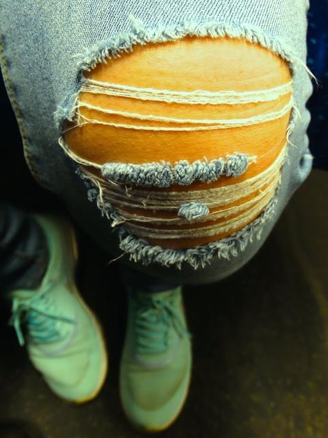 Knee jeans shoes, beauty fashion.