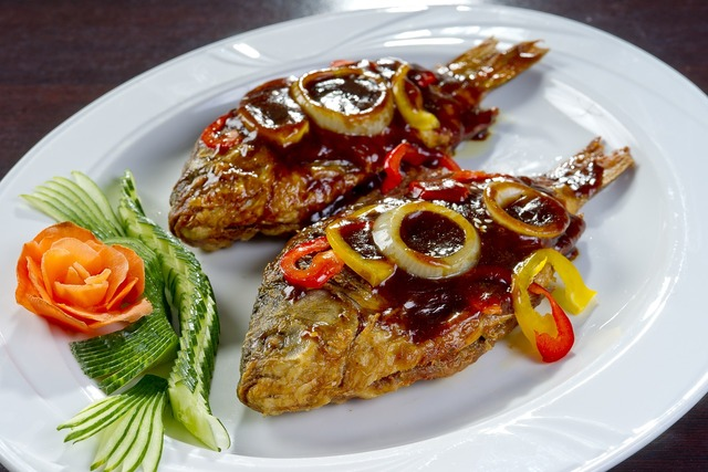 Korean food fried crucian carp national cuisine, food drink.