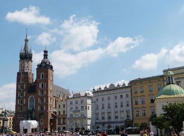Krakow poland city, architecture buildings.