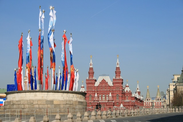 Kremlin victory day flags.