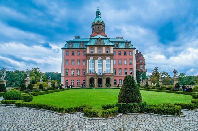 Książ the palace castle, architecture buildings.