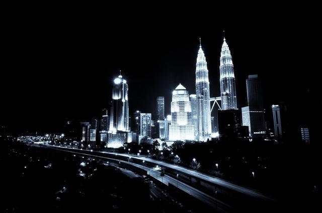 Kuala lumpur urban night, architecture buildings.