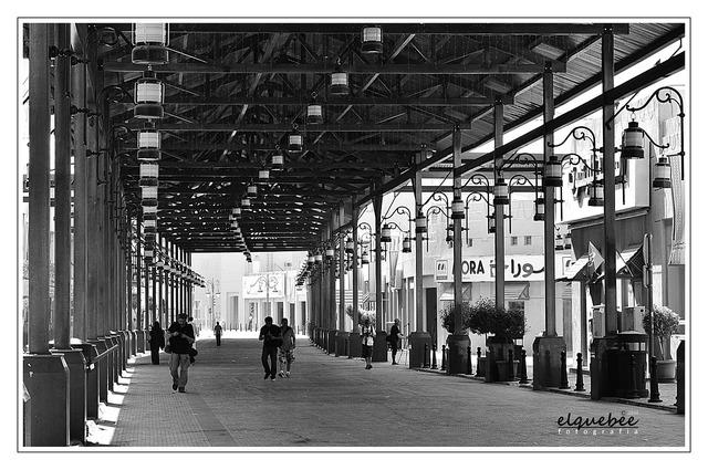 Kuwait souk market, architecture buildings.