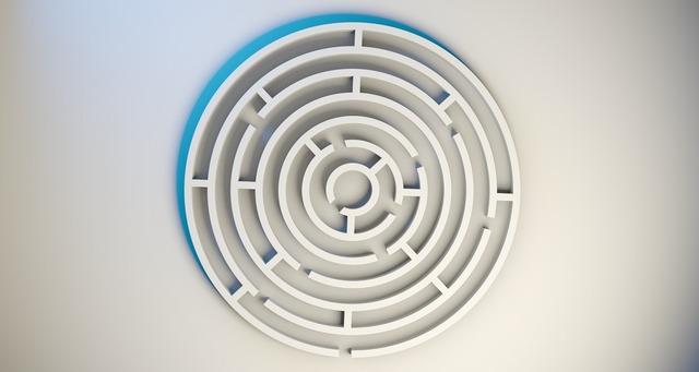 Labyrinth maze game, business finance.