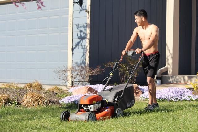 Lads mowing shirtless.