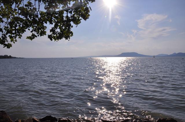 Lake balaton summer sunlight.
