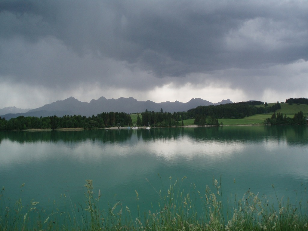 Lake forggensee storm summer.