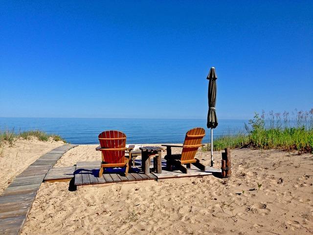 Lake huron michigan shore, travel vacation.
