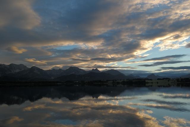 Lake reflections mountain panorama, nature landscapes.