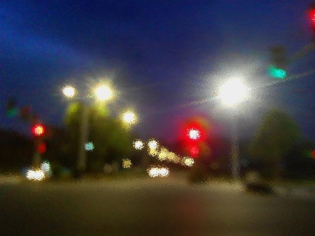 Lamp filter bokeh, transportation traffic.
