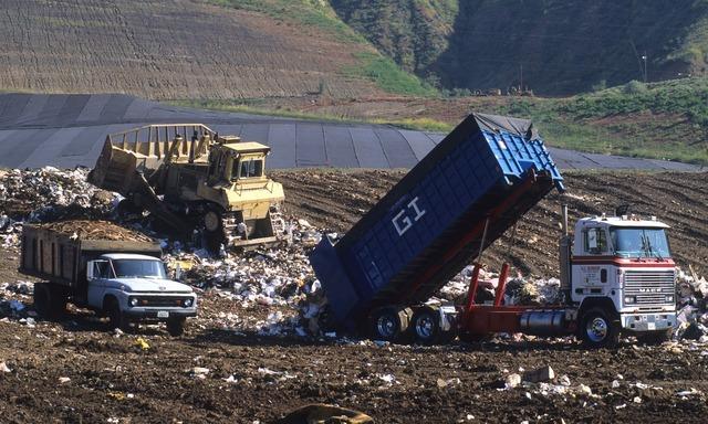 Land fill trash dump, transportation traffic.