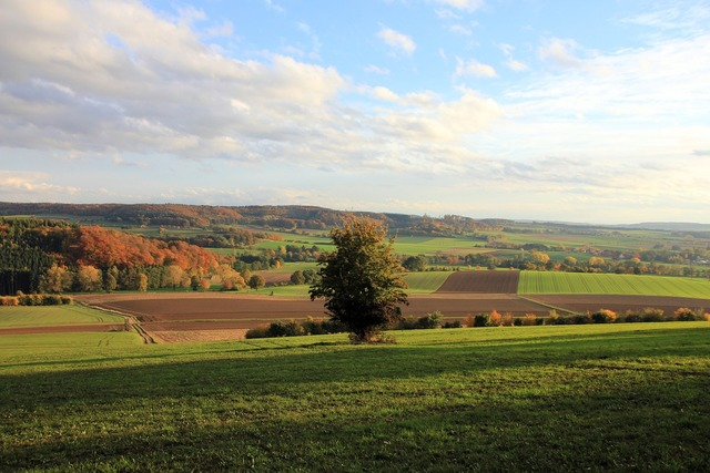 Landscape autumn weser uplands, nature landscapes.
