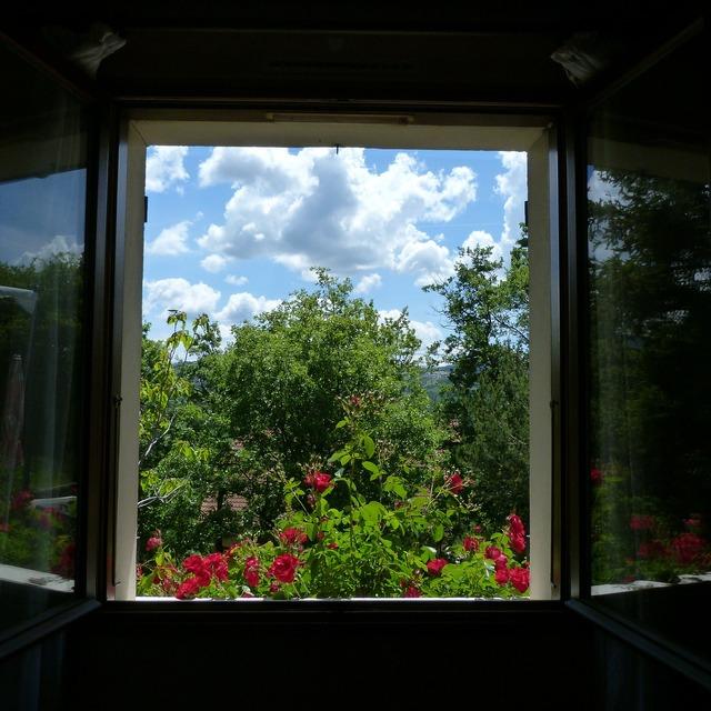 Landscape window opening, nature landscapes.