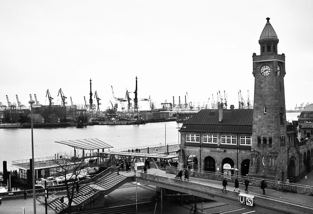 Landungsbrücken port of hamburg pegelturm, architecture buildings.
