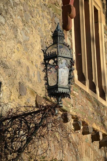 Lantern castle wall, architecture buildings.