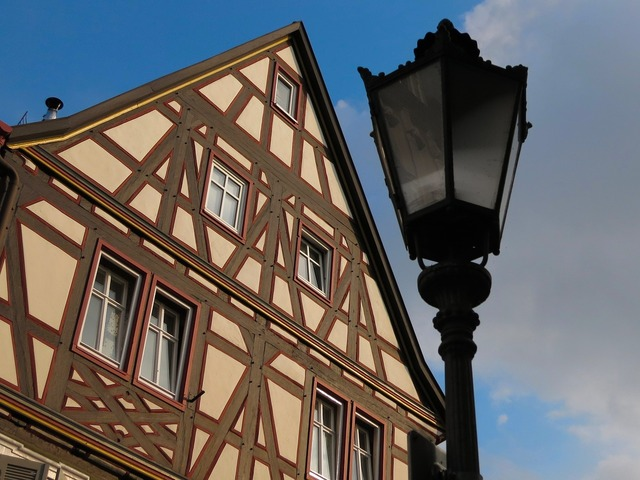 Lantern timber framed house old town.