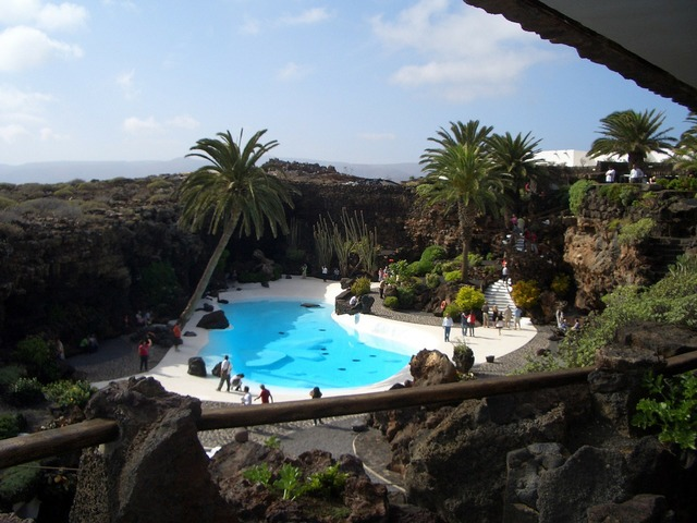 Lanzarote jameos del aqua volcanic stones, architecture buildings.