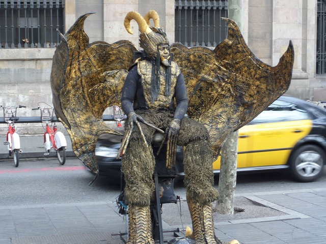Las ramblas barcelona artist, transportation traffic.