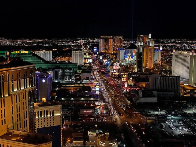 Las vegas night lights, architecture buildings.