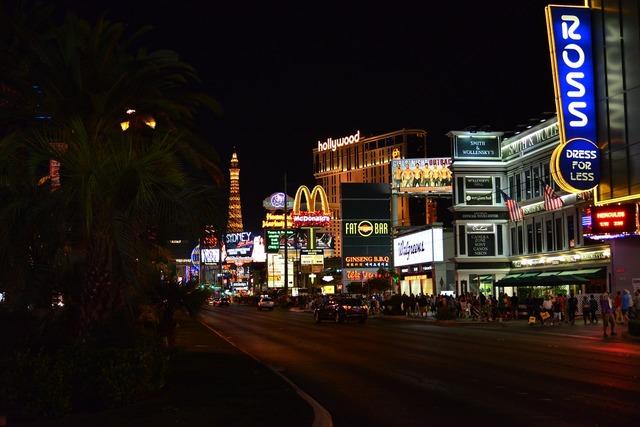 Las vegas night road, transportation traffic.