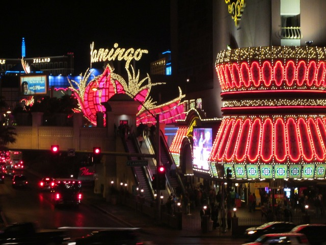 Las vegas strip flamingo neon, travel vacation.