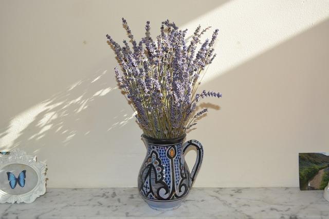 Lavender jug flowers.