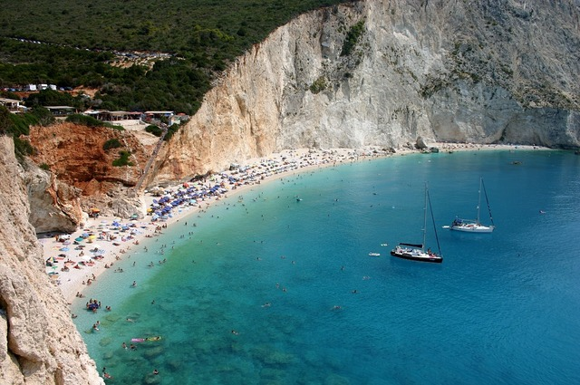 Lefkas sea beach, travel vacation.