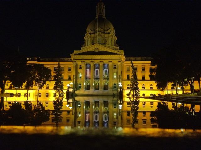 Legislature reflection edmonton, architecture buildings.