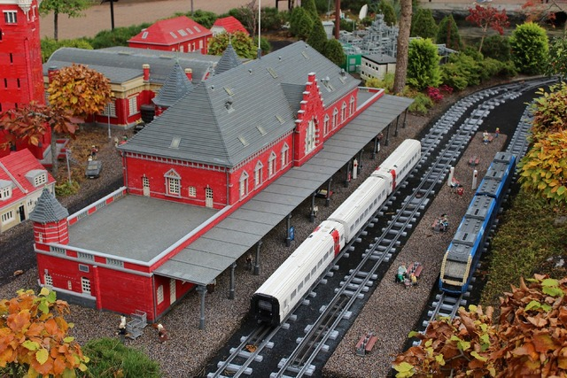 Lego railway station from lego, architecture buildings.