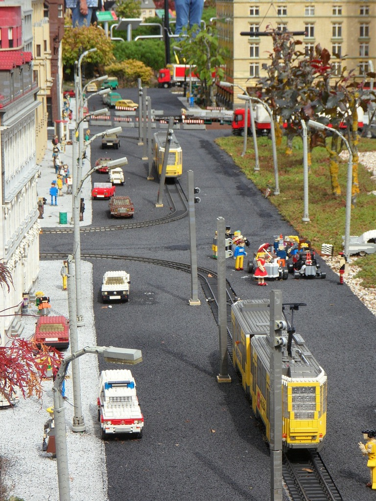 Legoland building blocks legos, transportation traffic.