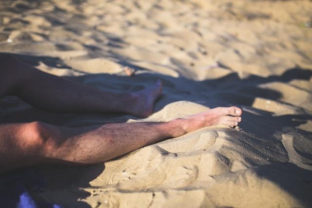 Legs man sand, people.