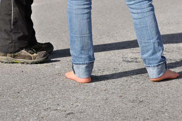 Legs road barefoot, transportation traffic.