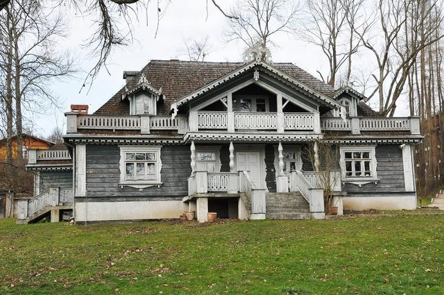 Leśniczówka cottage house, architecture buildings.
