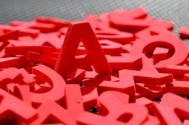 Letters moosgummi red.
