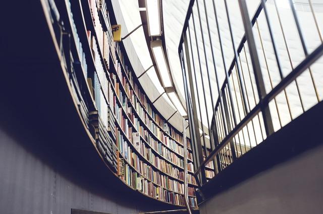 Library books bookshelf, education.