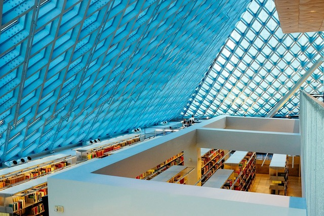 Library books shelves, architecture buildings.