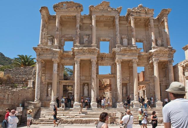 Library of celsus ancient roman, architecture buildings.