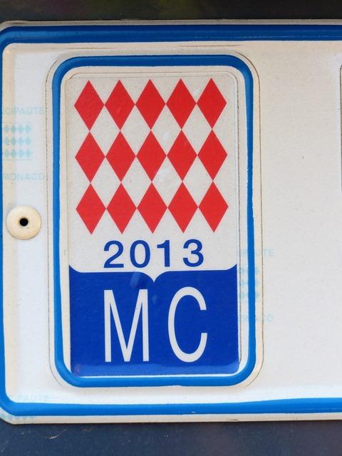 License plate monaco auto.